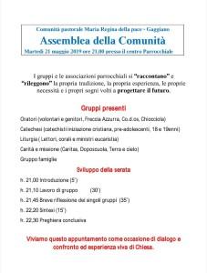 Assemblea della Comunità <br> martedì 21 maggio alle ore 21.00<br> presso il Centro Parrocchiale.